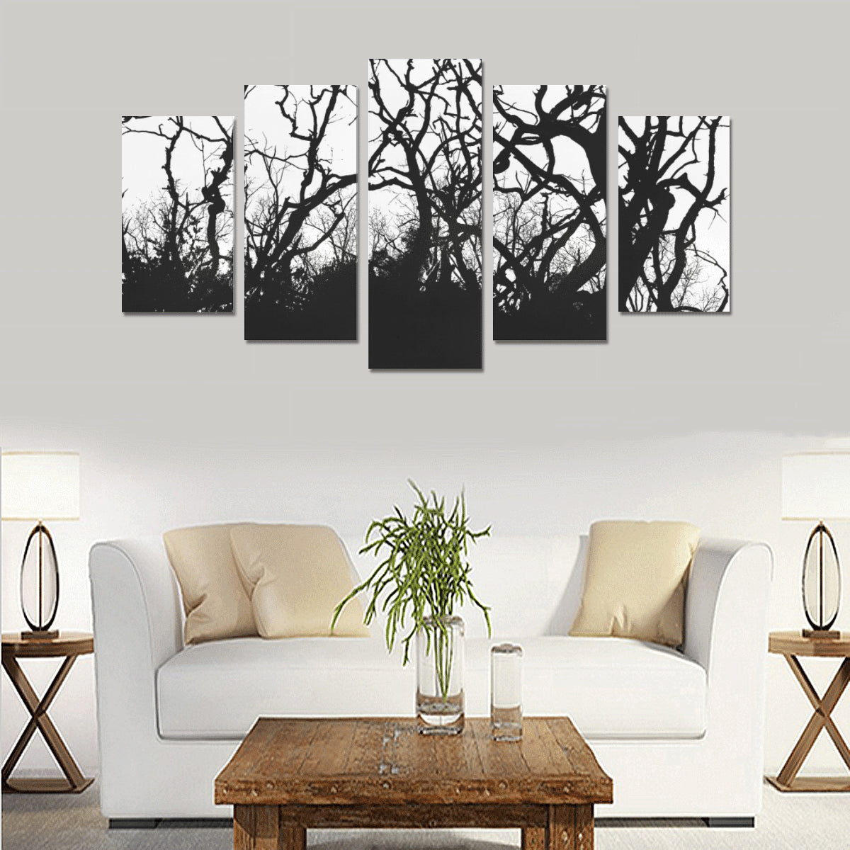 Dead Tree Black Roots Canvas Print Sets - Size A