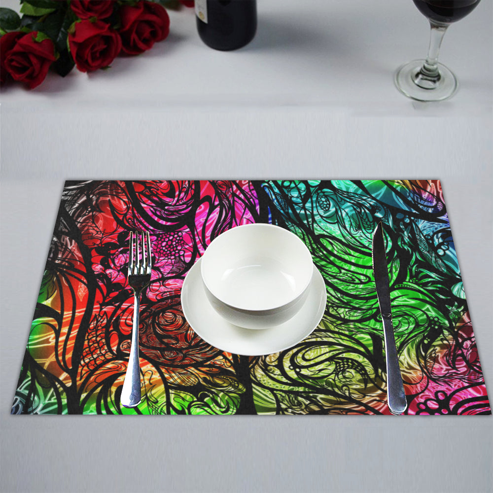 Zen Doodle Chromatic Chaos Placemat 14'' x 19'' (Six Pieces)