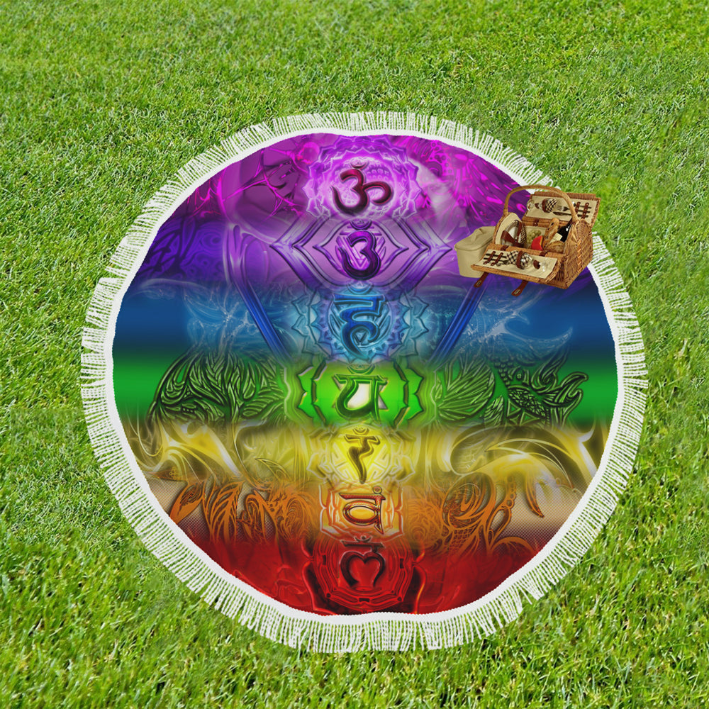 "Zen Chakra Full Spectrum Circular Beach Shawl 59""x 59"""