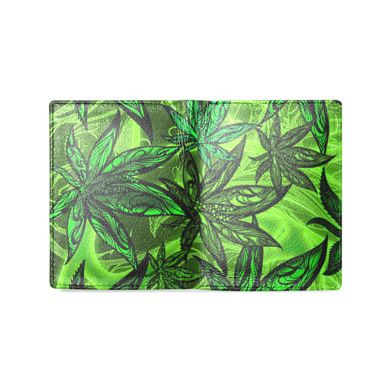 Weed Leaf THC Men's Leather Wallet