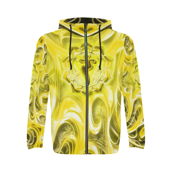 Solar Plexus Chakra Manipura All Over Print Full Zip Hoodie for Men