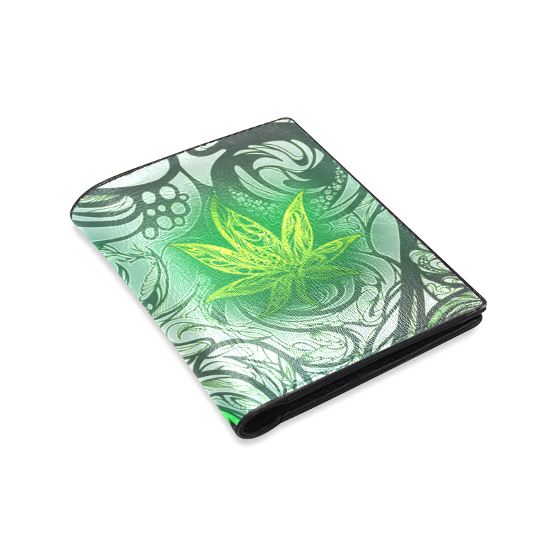 Weed Leaf White Men's Leather Wallet