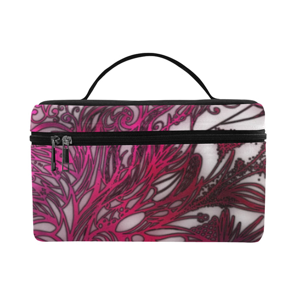 Zen Doodle White Magenta Rose Lunch Bag/Large