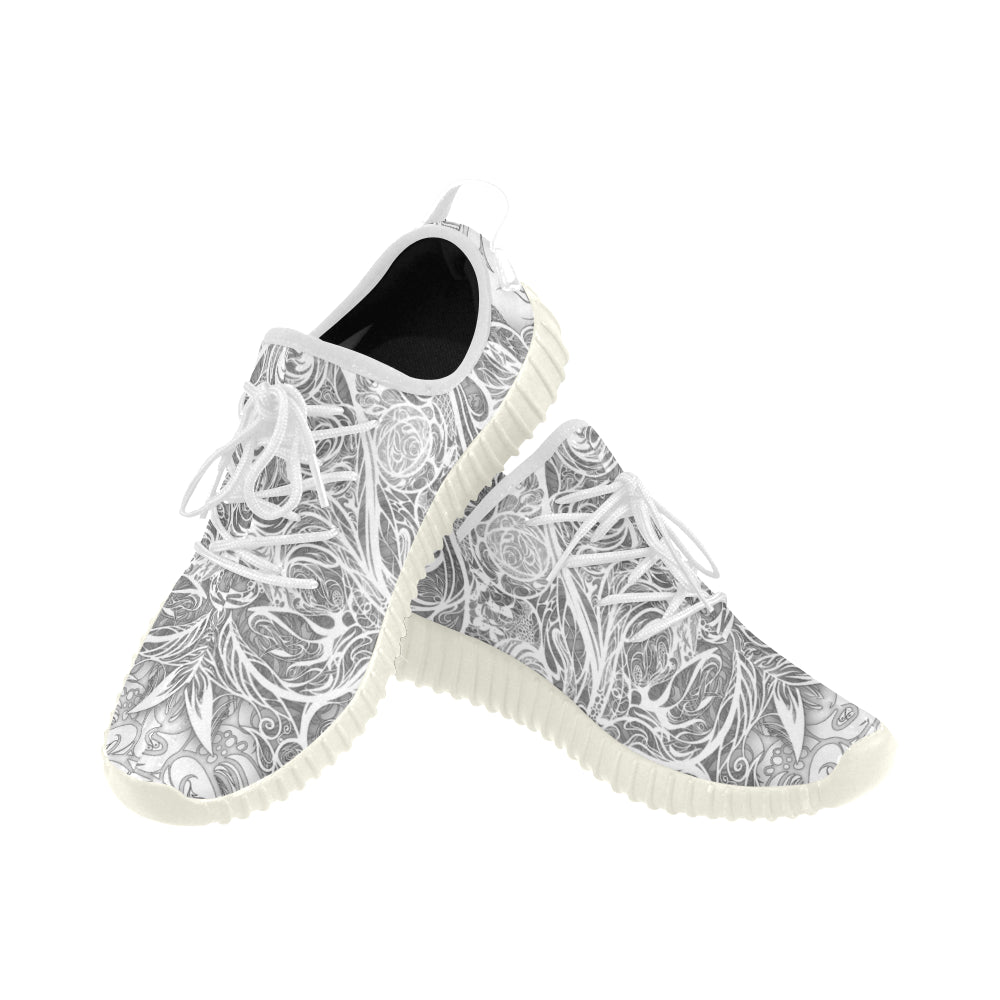 Zen Doodle Snow White Ornate Grus MEN'S Breathable Woven Running Shoes