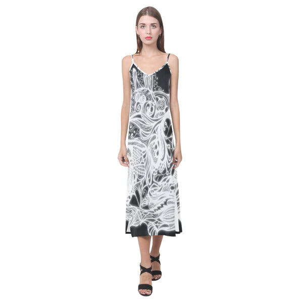 Zen Doodle White Glow V-Neck Open Fork Long Dress