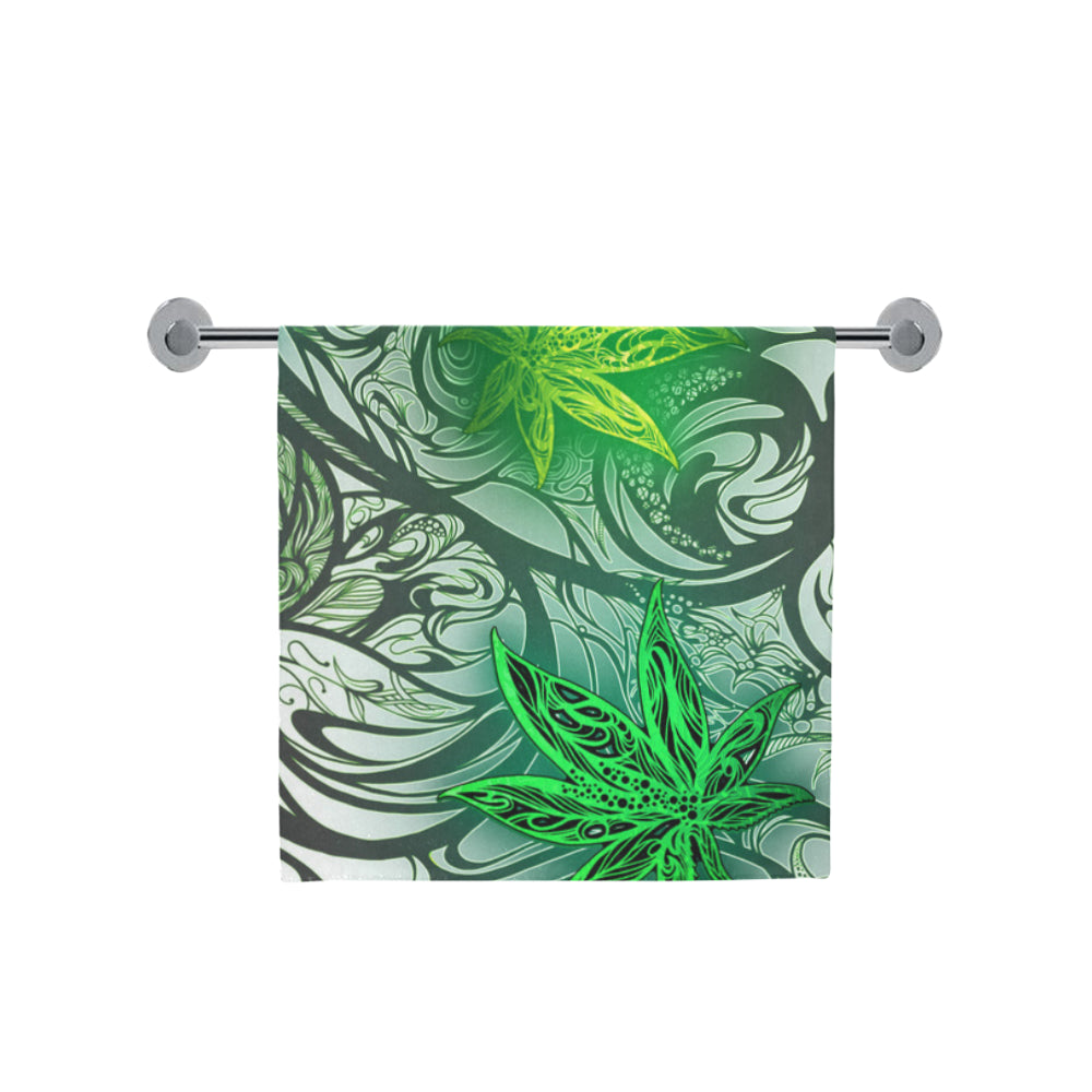 "Weed Leaf White Bath Towel 30""x56"""