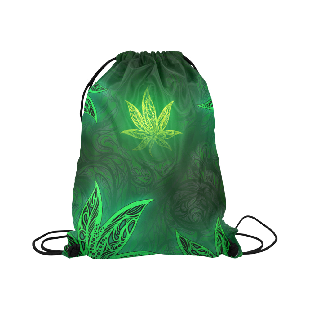 Weed Leaf Green Glow Basketball Drawstring Bag