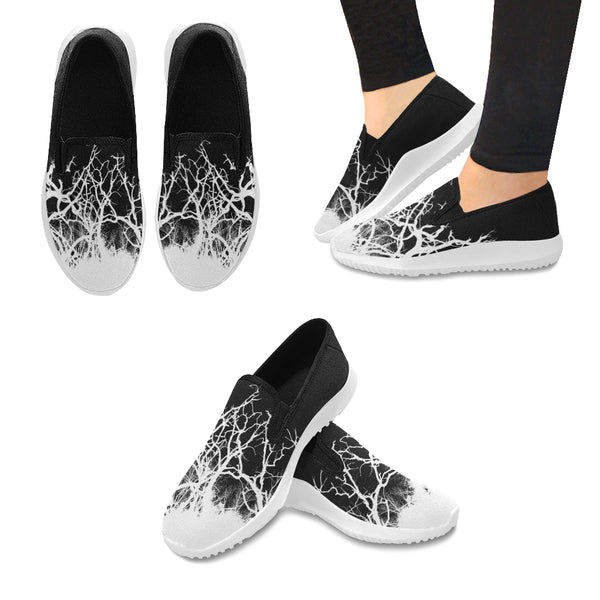 Dead Tree White Roots Orion Slip-on WOMEN'S Canvas Sneakers