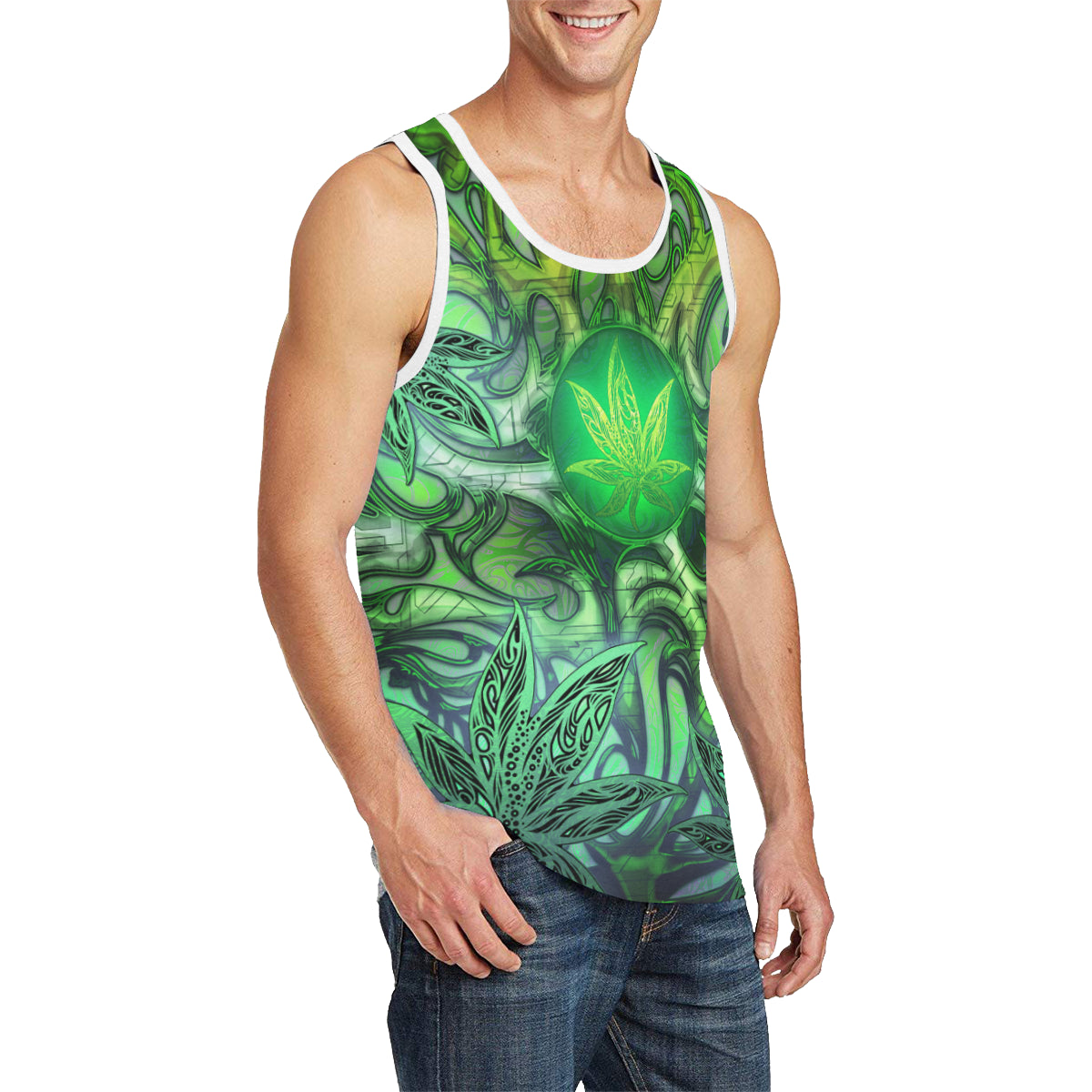 Dank Bud Green Men's All Over Print Tank Top