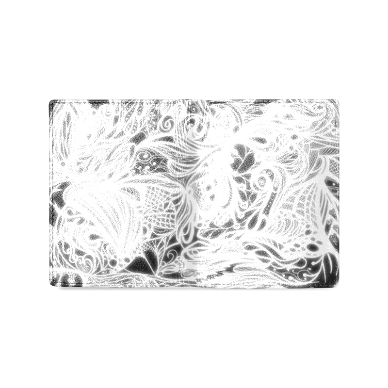 Zen Doodle White Glow Tribal Snow Men's Leather Wallet