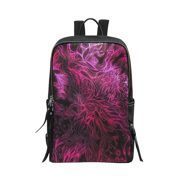 Zen Doodle Black Magenta Rose Unisex Slim Backpack