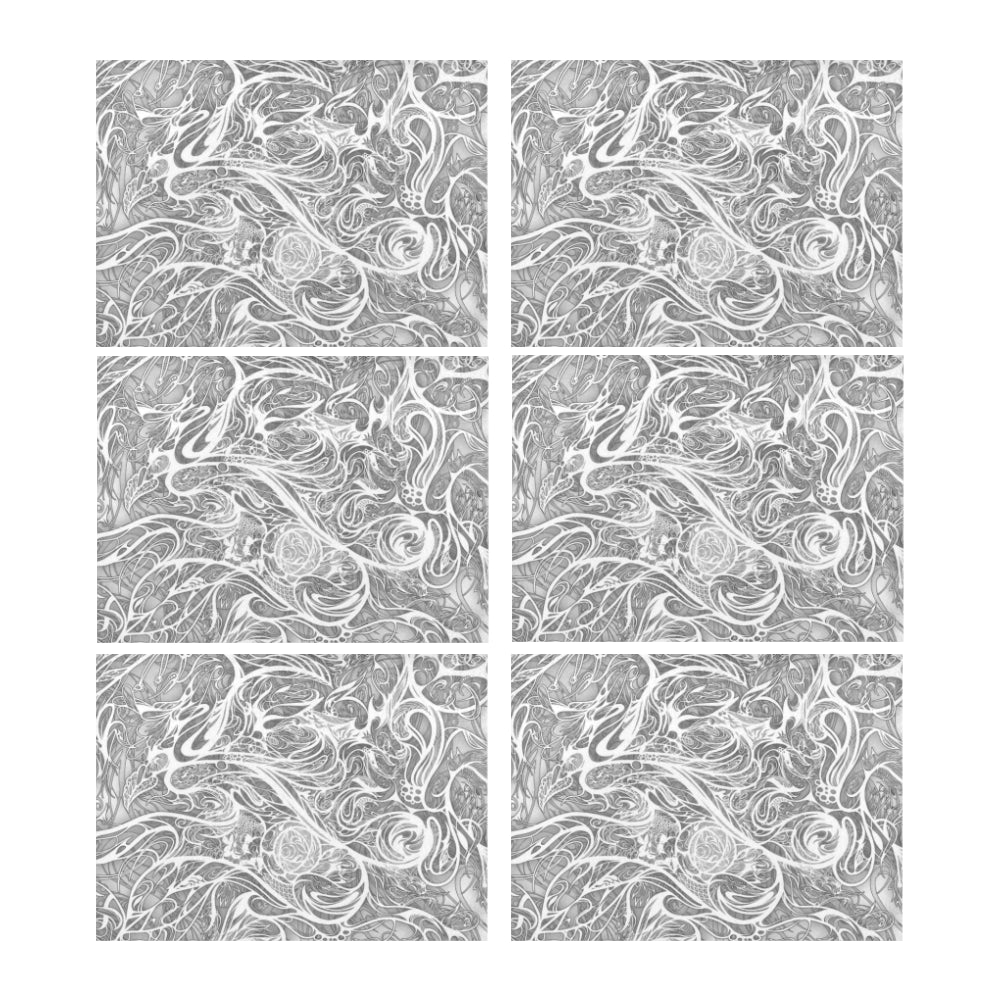 Zen Doodle Snow White Ornate Placemat 14'' x 19'' (Six Pieces)