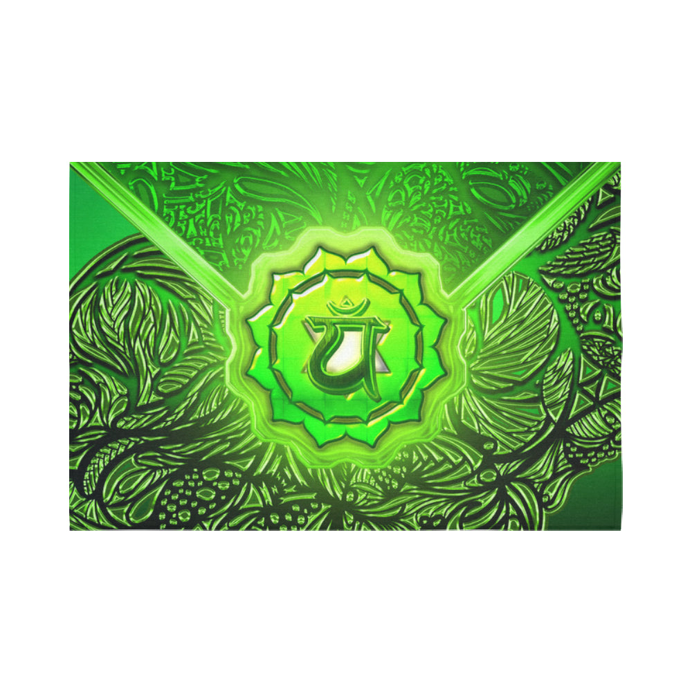"Heart Chakra Anahata Cotton Linen Wall Tapestry 90""x 60"""