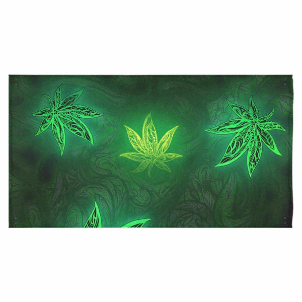 "Weed Leaf Green Glow Bath Towel 30""x56"""
