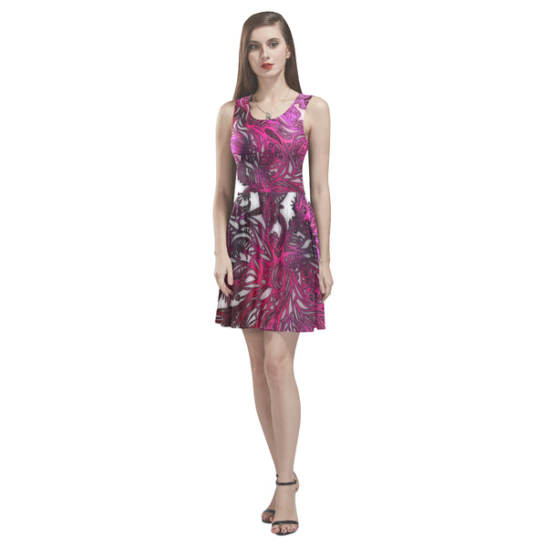 Zen Doodle White Magenta Rose Thea Sleeveless Skater Dress