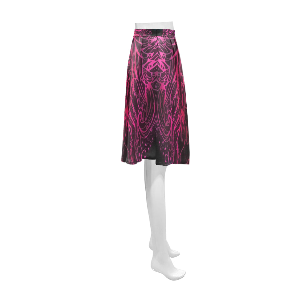 Zen Doodle Black Magenta Rose Athena Women's Short Skirt