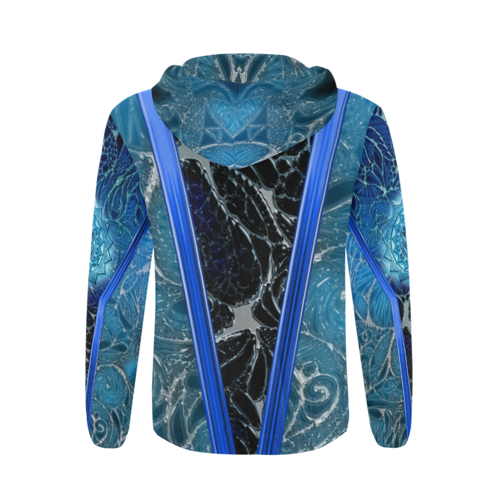 Throat Charka Vishuddha All Over Print Full Zip Hoodie for Men