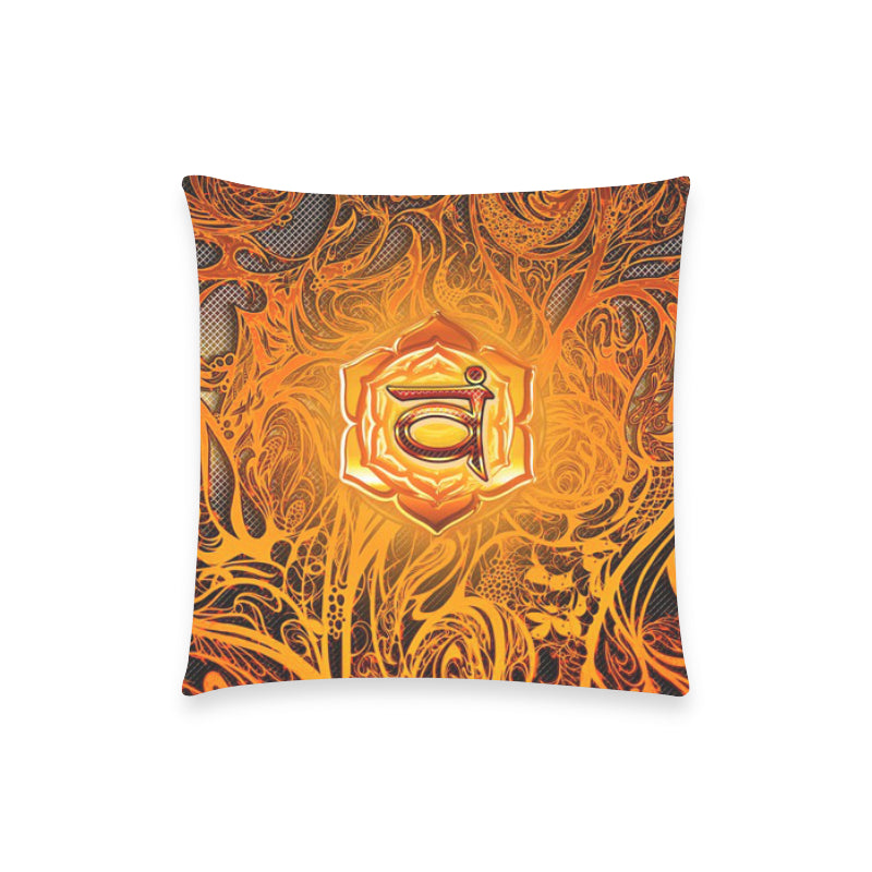 "Sacral Chakra Svadhishthana Pillow Case 18""x18"" (one side) No Zipper"