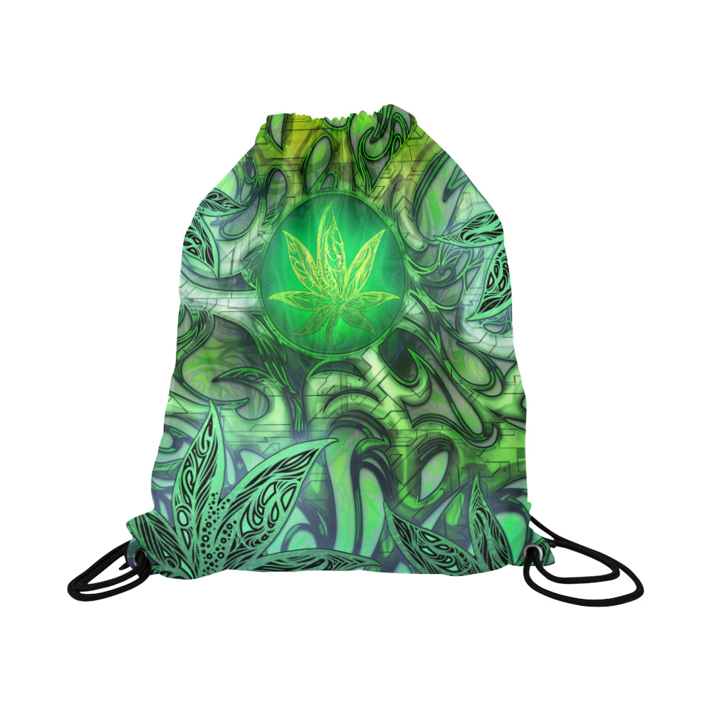 Industrial Weed Leaf Basketball Drawstring Bag
