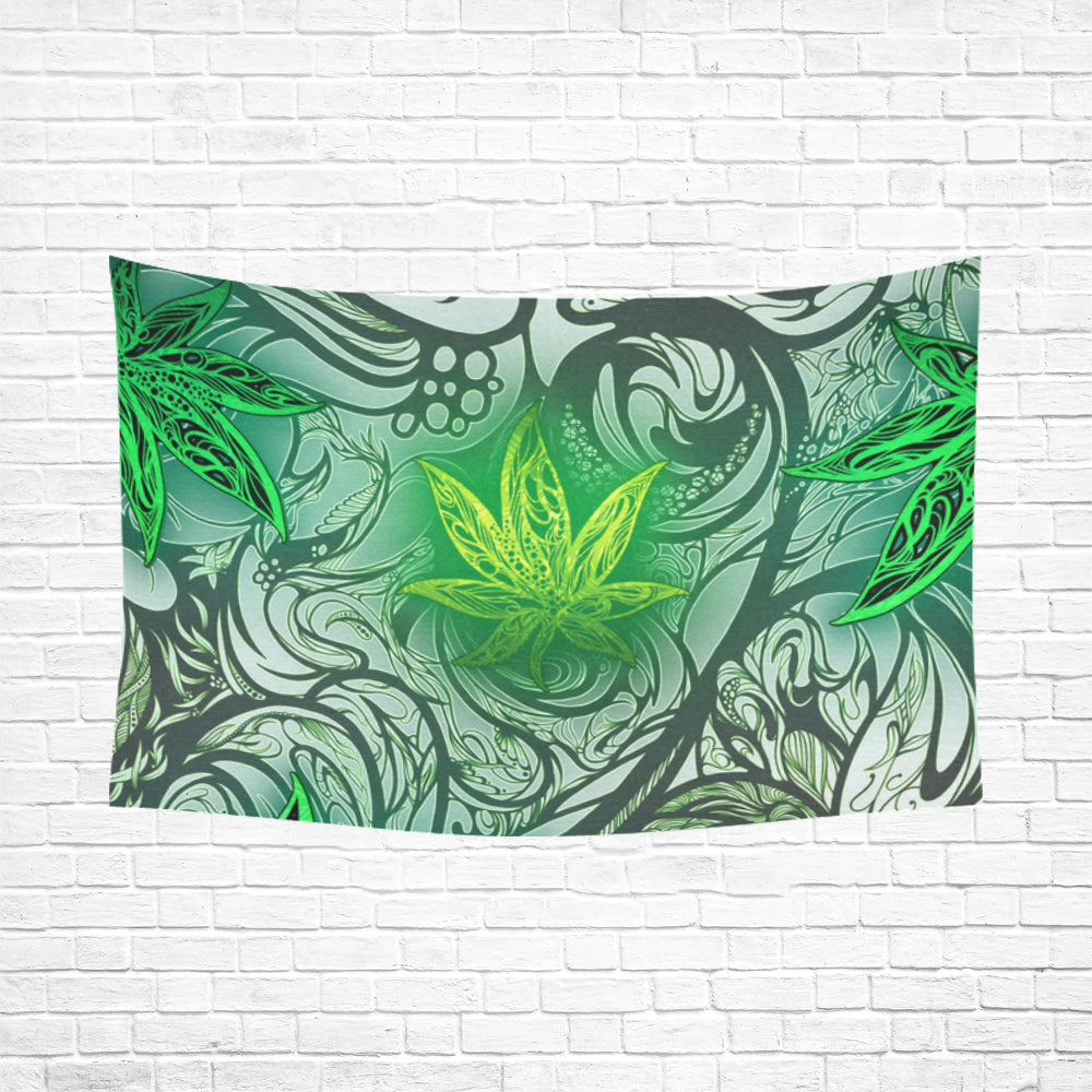"Weed Leaf White Cotton Linen Wall Tapestry 90""x 60"""