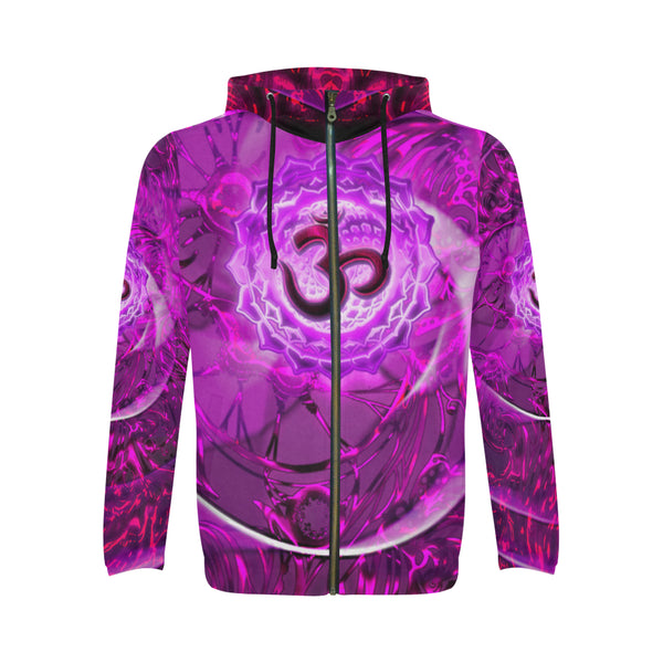 Crown Chakra Sahasrara All Over Print Full Zip Hoodie for Men