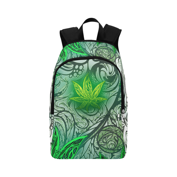 Weed Leaf White Fabric Backpack for Adult