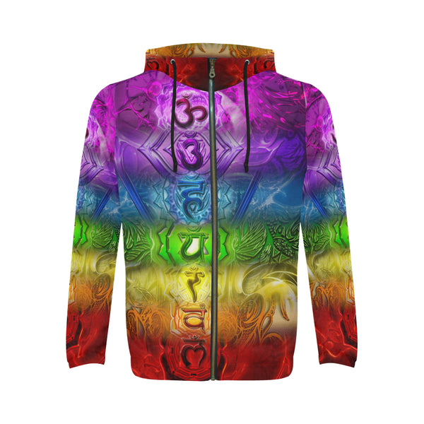 Zen Chakra Full Spectrum All Over Print Full Zip Hoodie for Men