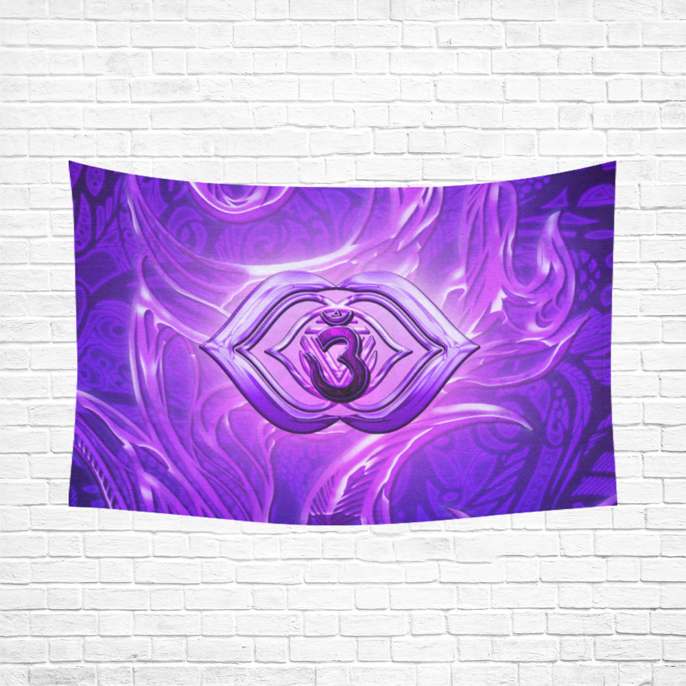 "Third Eye Chakra Anja Cotton Linen Wall Tapestry 90""x 60"""