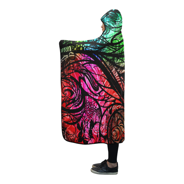 Zen Doodle 8 Chromatic Chaos Hooded Blanket 80''x56''