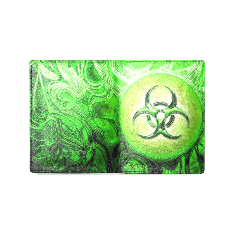Biohazzard Green Men's Leather Wallet