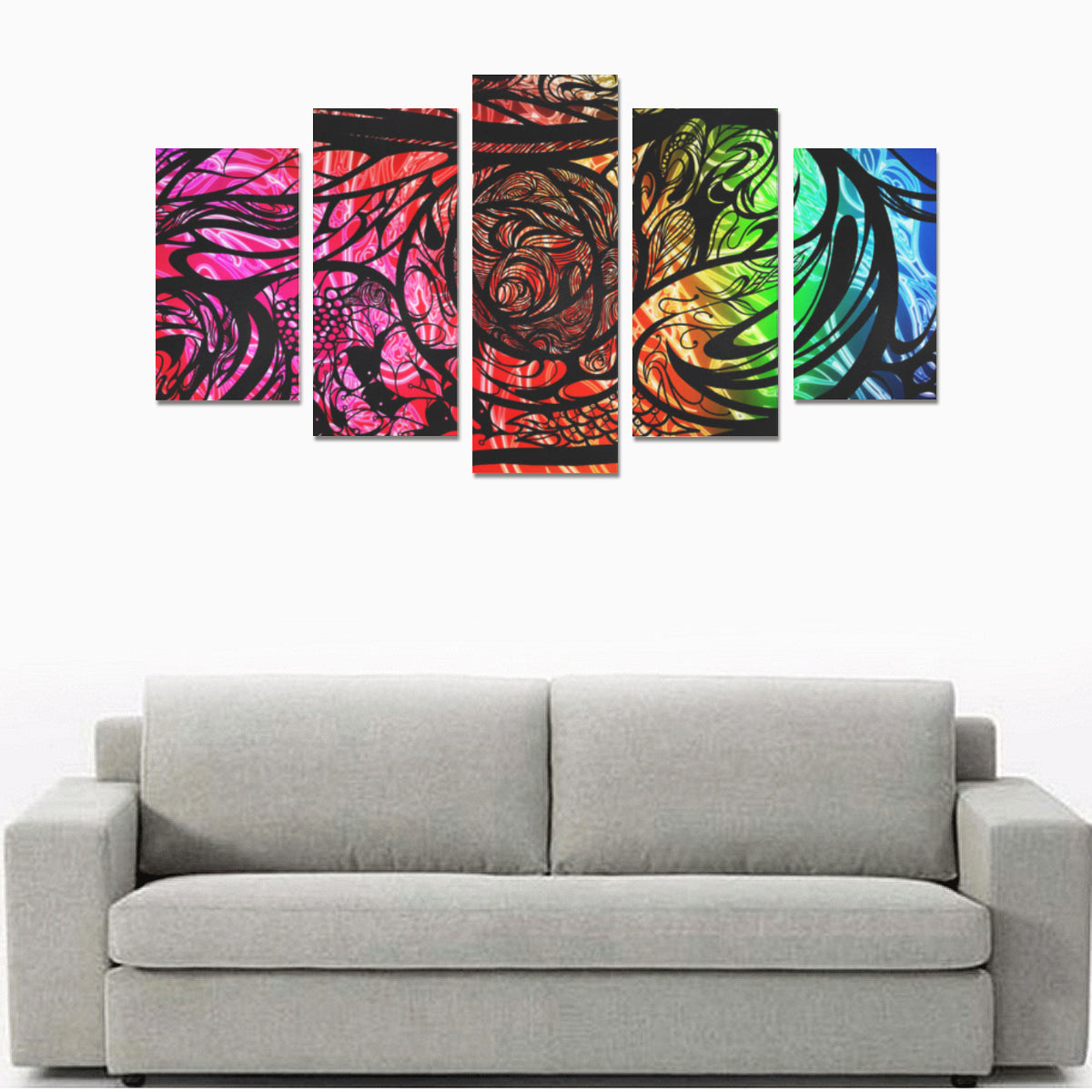 Zen Doodle Chromatic Chaos Canvas Print Set - Size A
