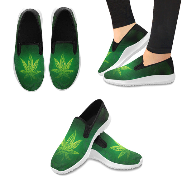 Weed Leaf Green Glow Orion Slip-on WOMEN'S Canvas Sneakers