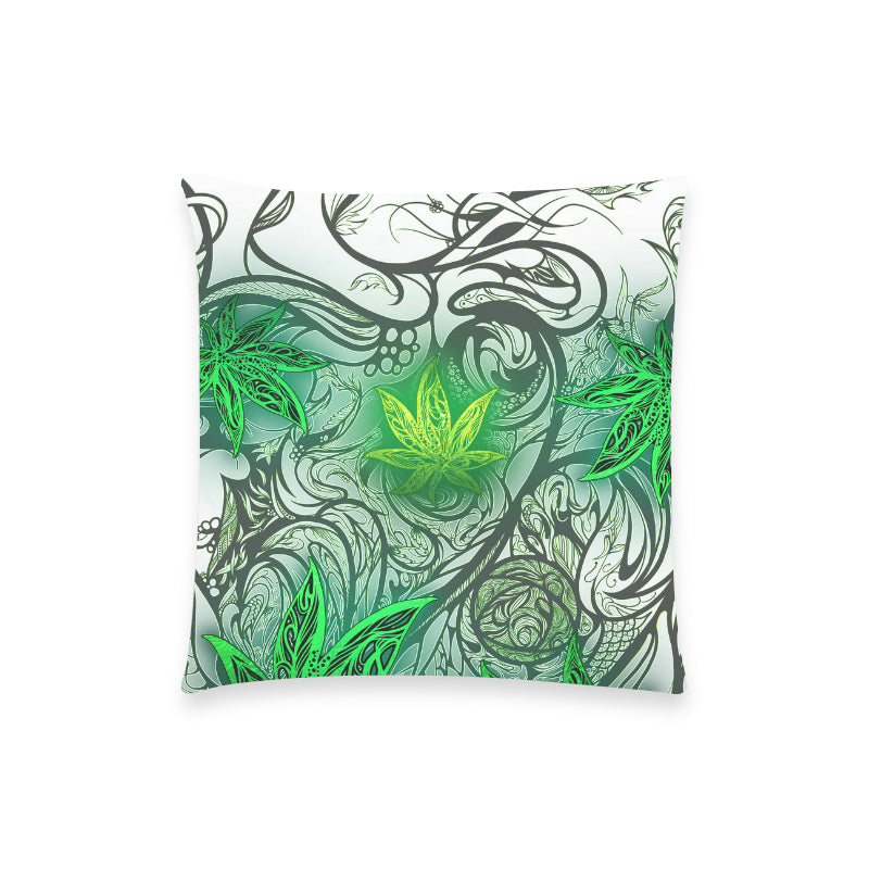 "Weed Leaf White Pillow Case 18""x18"" (one side) No Zipper"