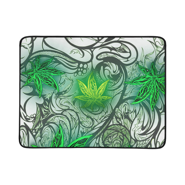 Weed Leaf White Portable & Foldable Mat 60''x78''