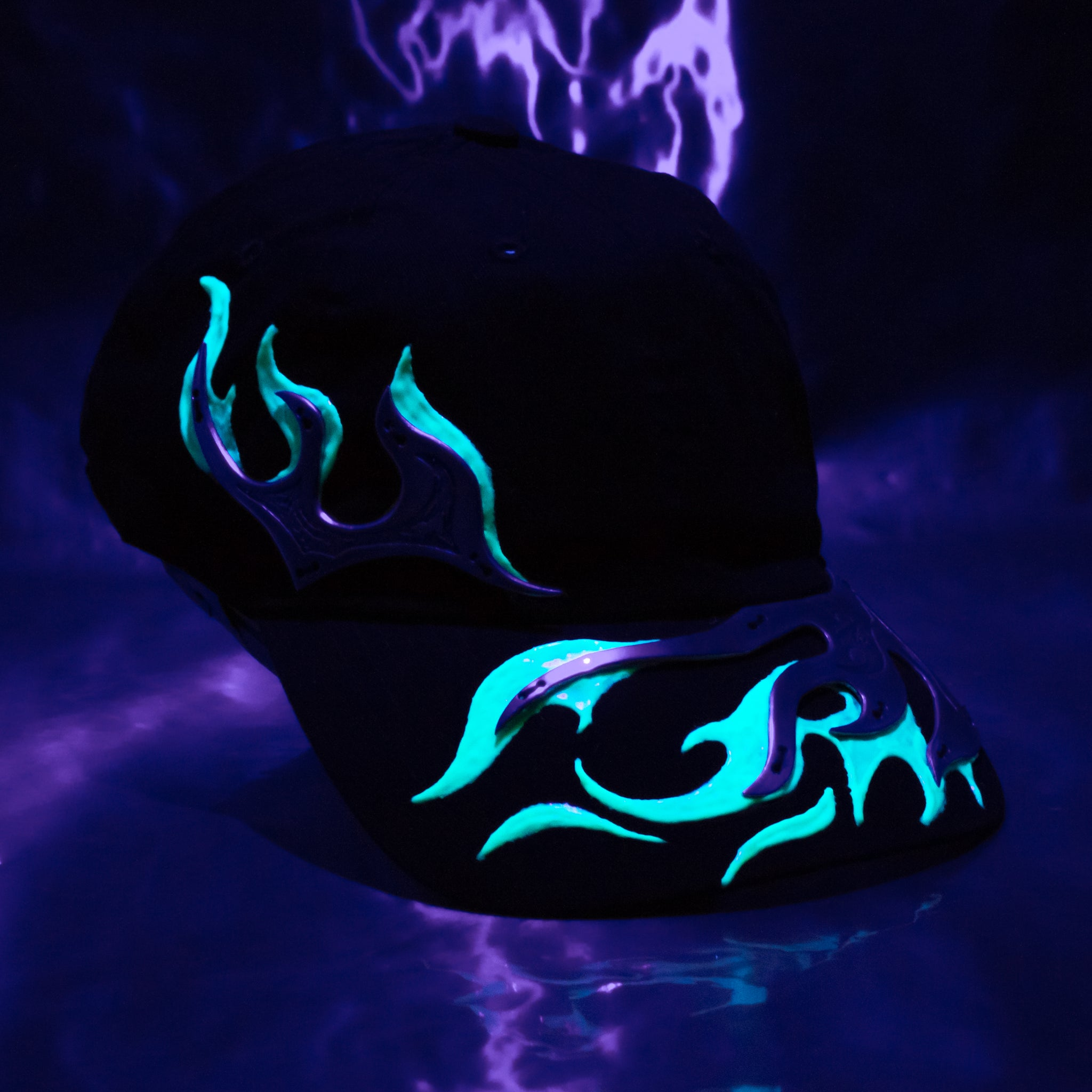 Glowing Aluminum Blue Flame Hat