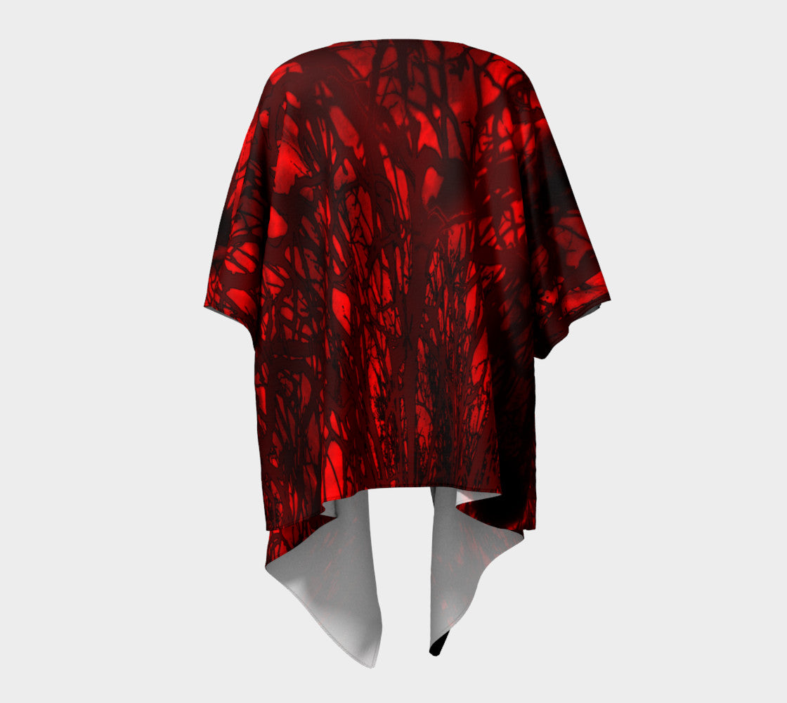 Red Carnage Blood Vein Draped Kimono