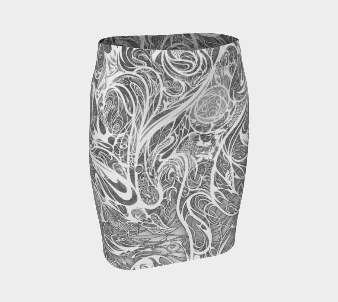 Zen Doodle Snow White Fitted Skirt