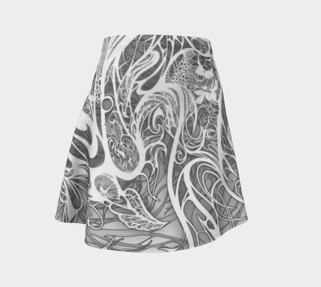 Zen Doodle Snow White Ornate Flare Skirt