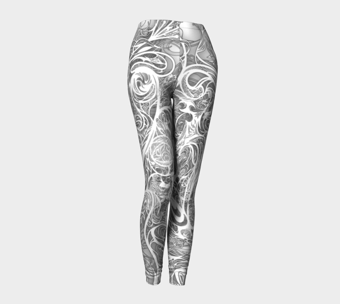 Zen Doodle Snow White Ornate Leggings