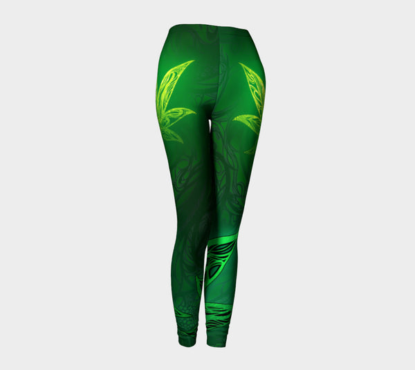Weed Leaf Green Glow Leggings