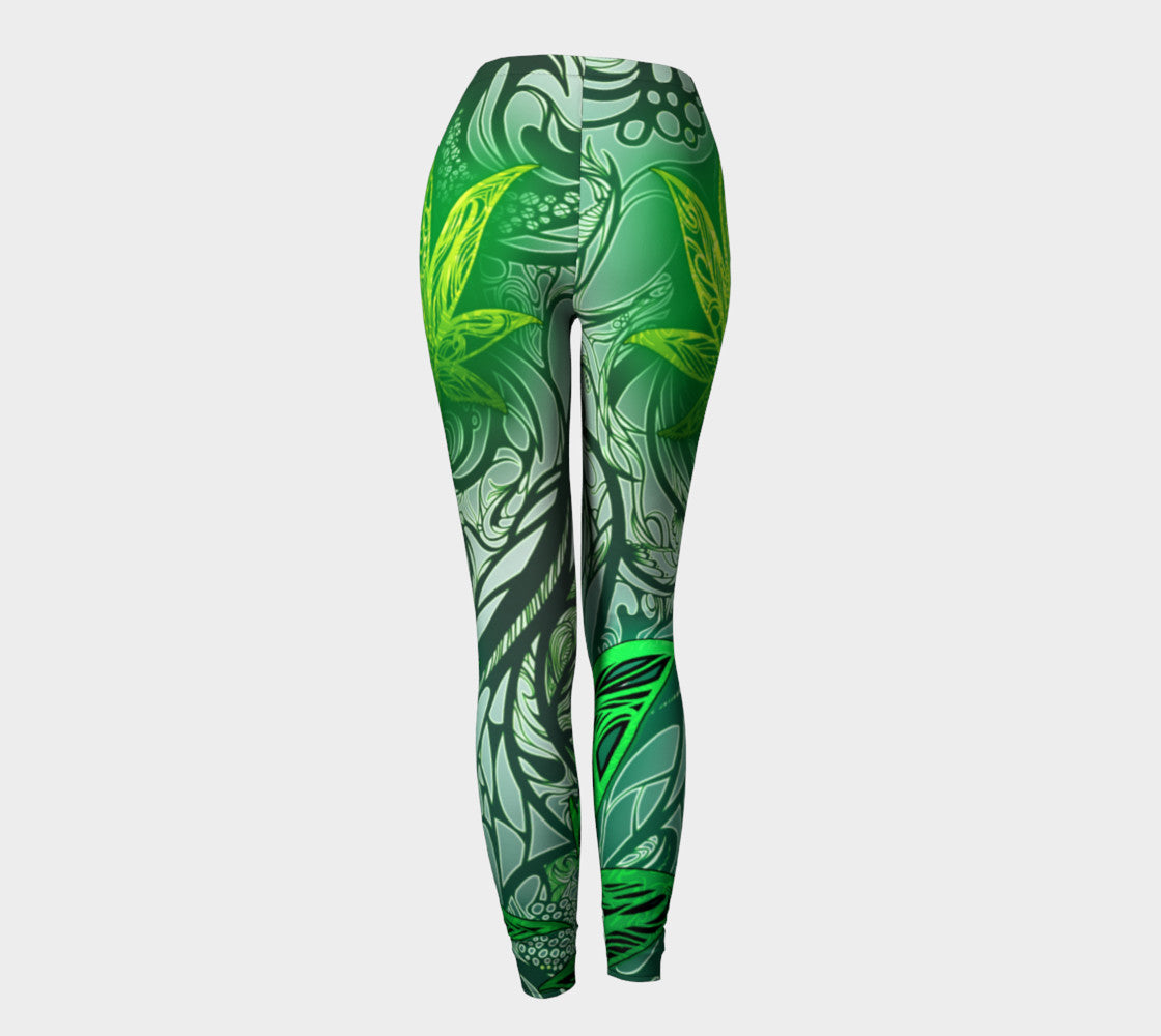 Weed Leaf White Leggings