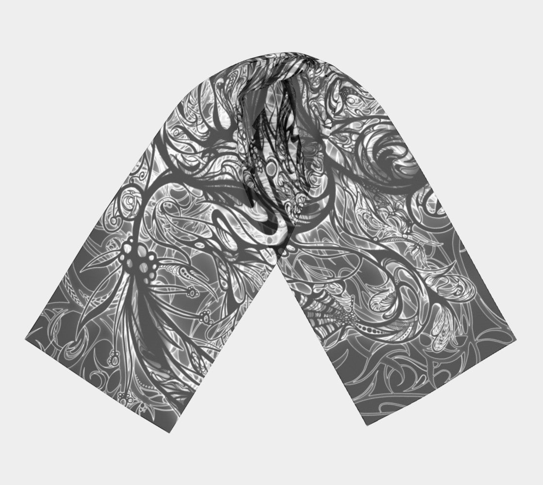 Zen Doodle Black Snow Ornate Scarves Dual Sided Print