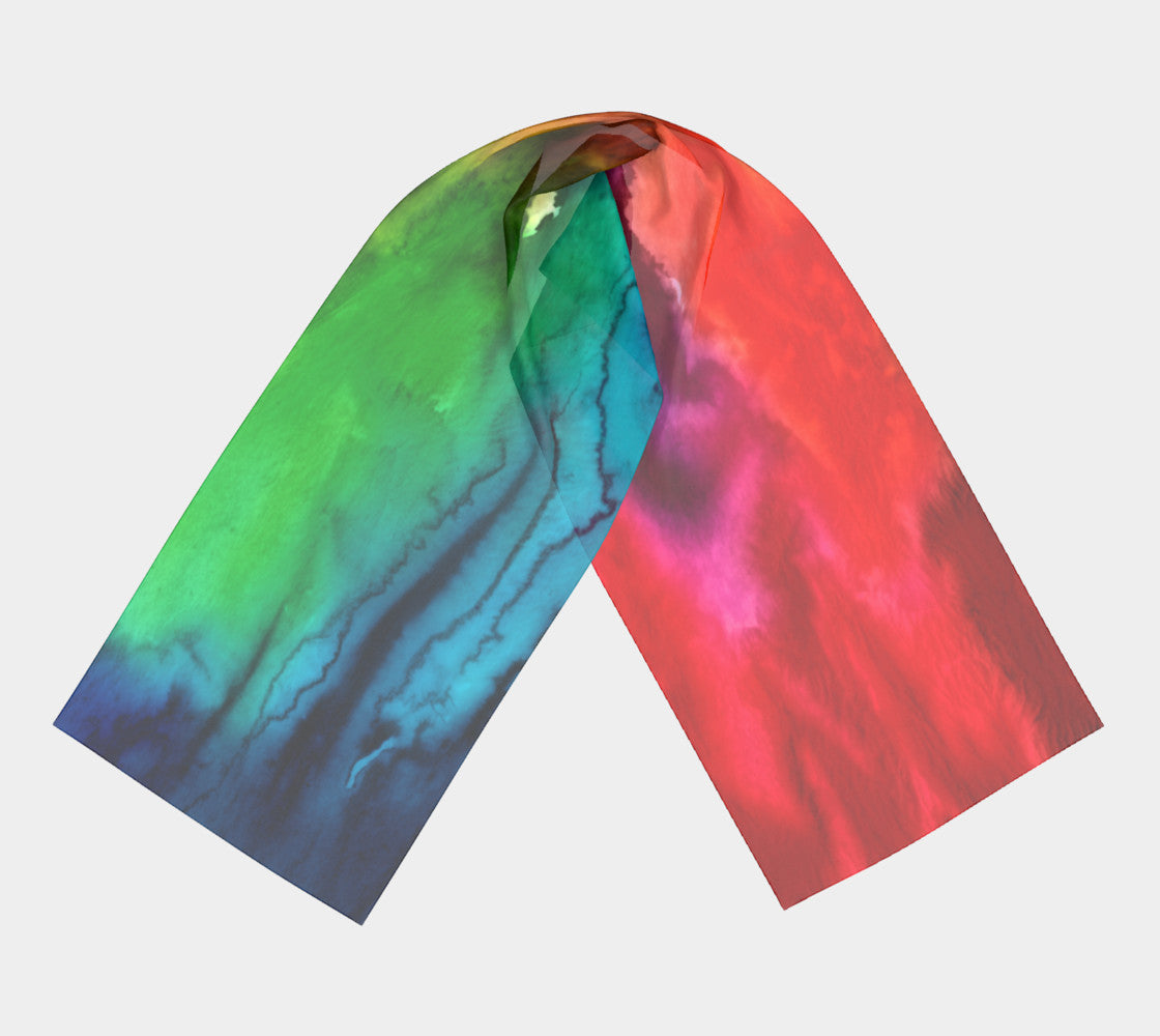 Water Color Rainbow Splash Scarf Dual Sided Print