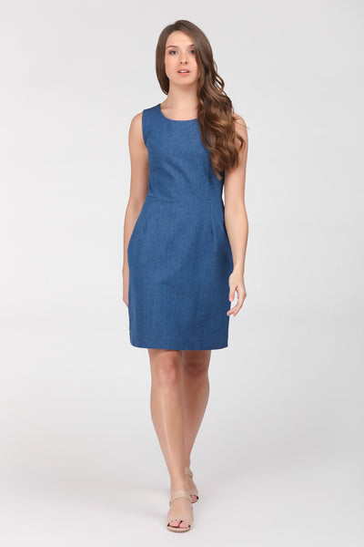 A classic indigo denim sheath dress by Ambi. Front on view.