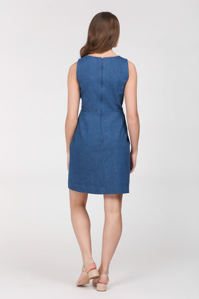 A classic indigo denim sheath dress by Ambi. Back view.