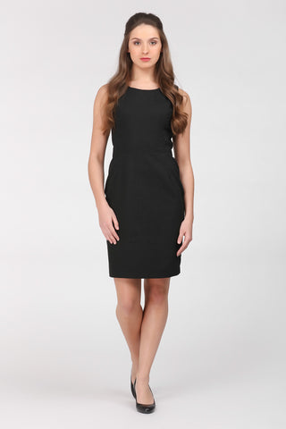 A classic little black dress by Ambi. Front on view.
