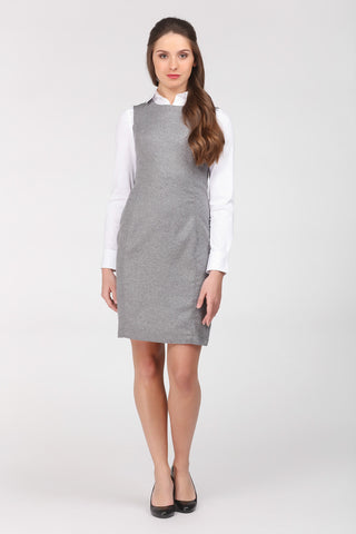 Light grey suiting shift dress by Ambi, worn over white shirt. Front on view.