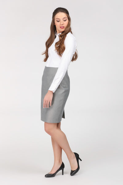 Grey skirt by Ambi. Knee length. Side view.