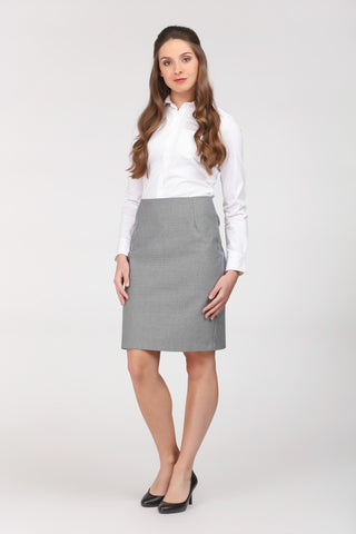 Grey skirt by Ambi. Knee length. Front view.