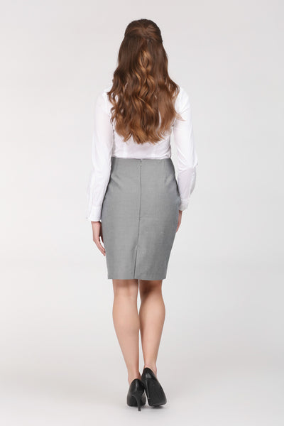 Grey skirt by Ambi. Knee length. Back view.